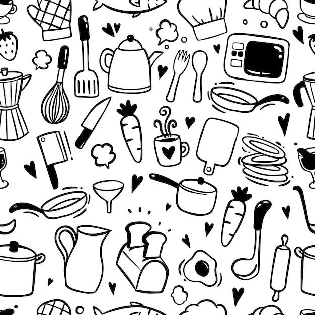Padrão sem emenda com elementos de cozinha no estilo doodle Vetor Premium