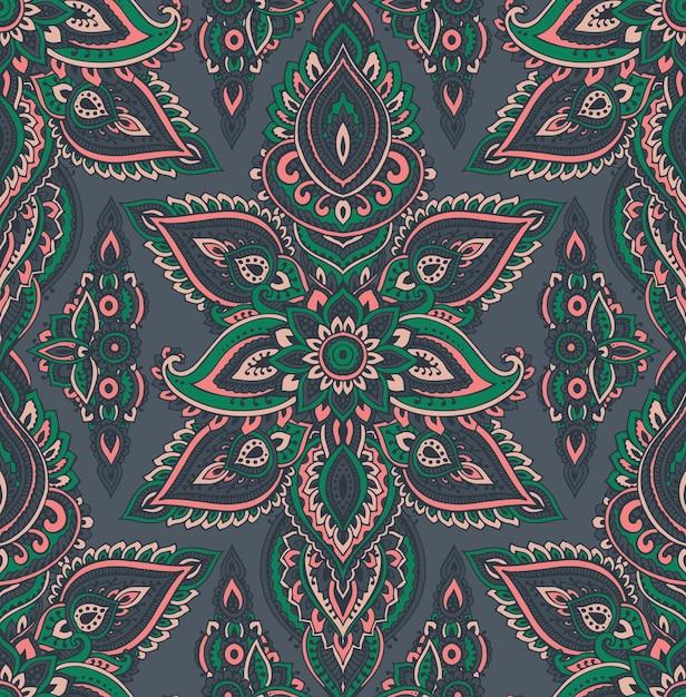 Padrão sem emenda com elementos florais de henna mehndi desenhados à mão Vetor Premium