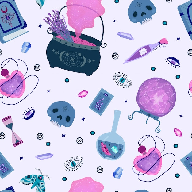 Padrão sem emenda com elementos mágicos mágicos em lilás, roxo e rosa. Vetor Premium