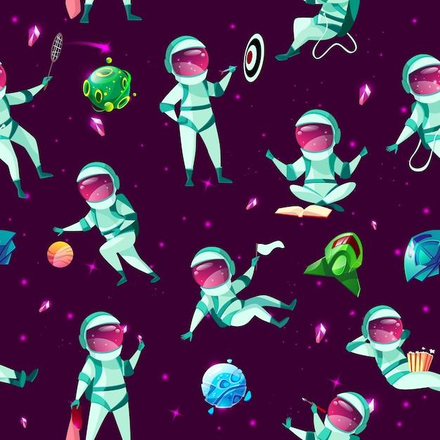 Padrão sem emenda com engraçado bonito astronautas jogando dardos, basquete, meditando badminton Vetor grátis