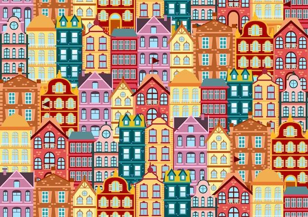 Padrão sem emenda com fachadas brilhantes coloridas casa holandesa. casas antigas de diferentes cores e formas. fachadas de casas na ilustração vetorial tradicional holandesa. Vetor Premium