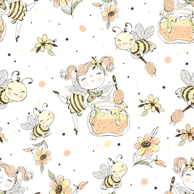 Padrão sem emenda com fadas das flores e abelhas. Vetor Premium