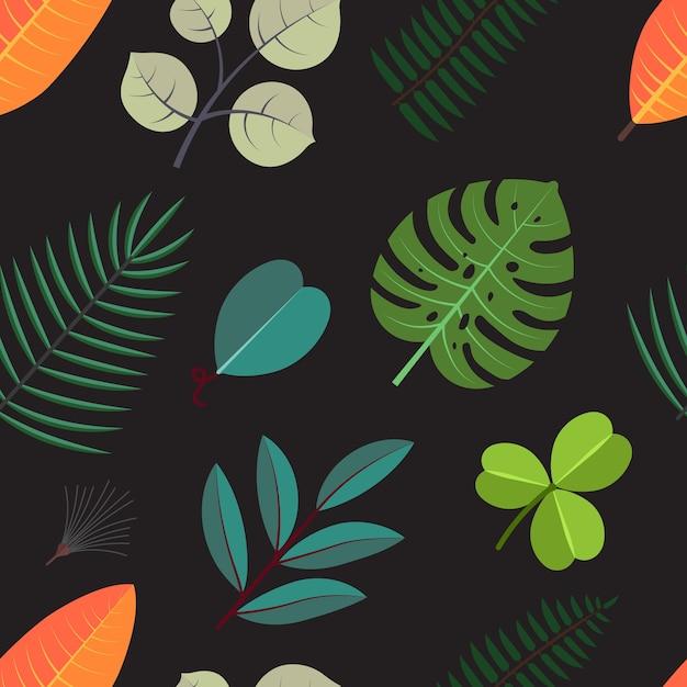 Padrão sem emenda com folhas de palmeira verde. folhagem tropical floral em fundo escuro. Vetor Premium