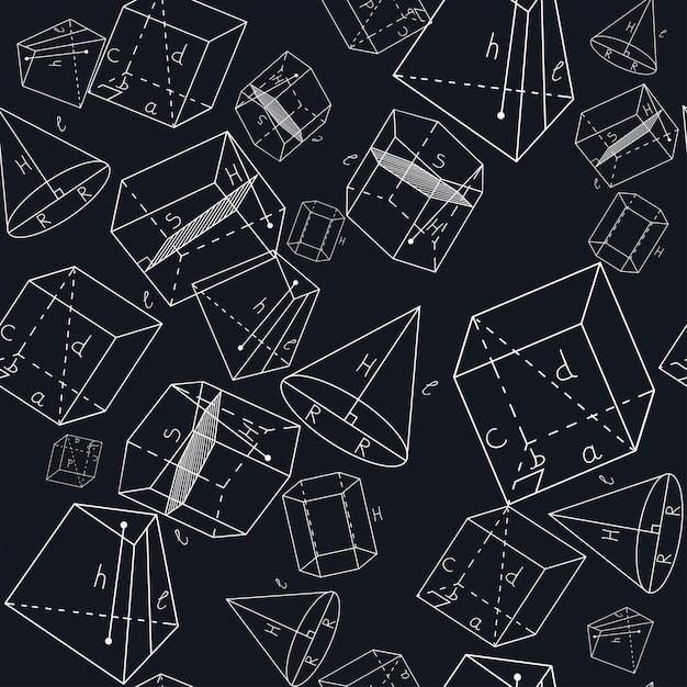 Padrão sem emenda com formas geométricas. paralelepípedo retangular, paralelepípedo oblíquo, prisma reto, prisma inclinado, pirâmide truncada, cone. Vetor Premium