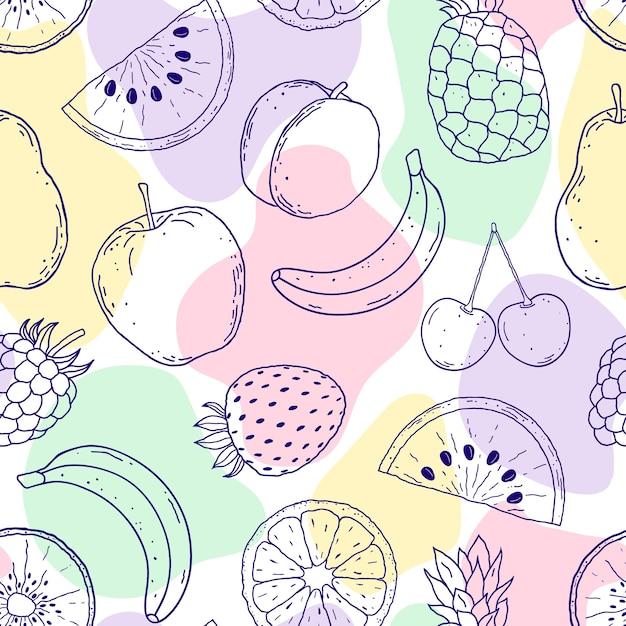 Padrão sem emenda com frutas desenhadas à mão e formas abstratas em fundo branco Vetor Premium
