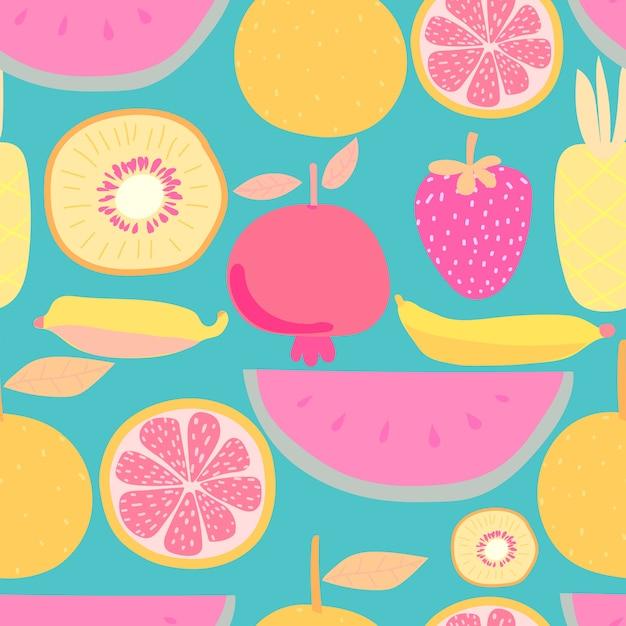 Padrão sem emenda com frutas. ilustrações vetoriais para design de embrulho. Vetor Premium