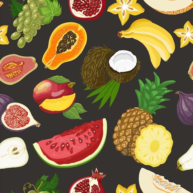 Padrão sem emenda com frutas saudáveis Vetor Premium