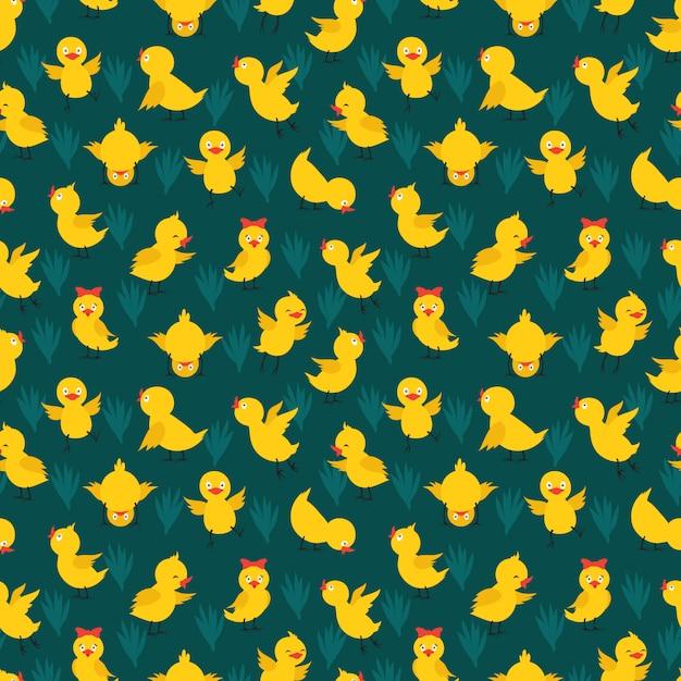 Padrão sem emenda com galinhas amarelas bonitos Vetor Premium