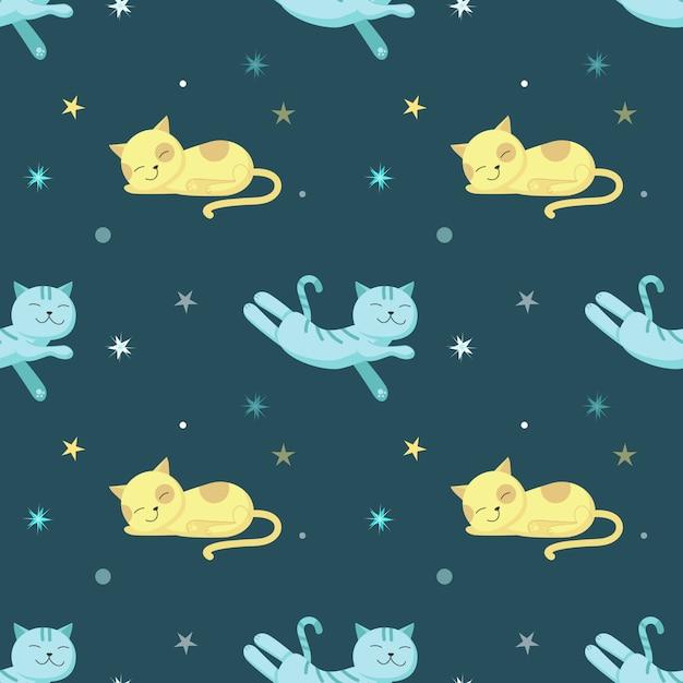 Padrão sem emenda com gatos bonitos dormindo Vetor Premium