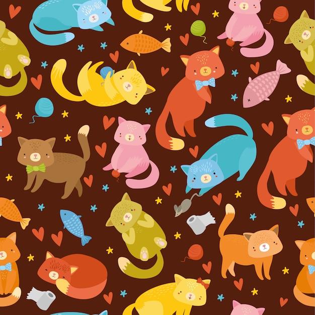 Padrão sem emenda com gatos multicoloridos Vetor grátis