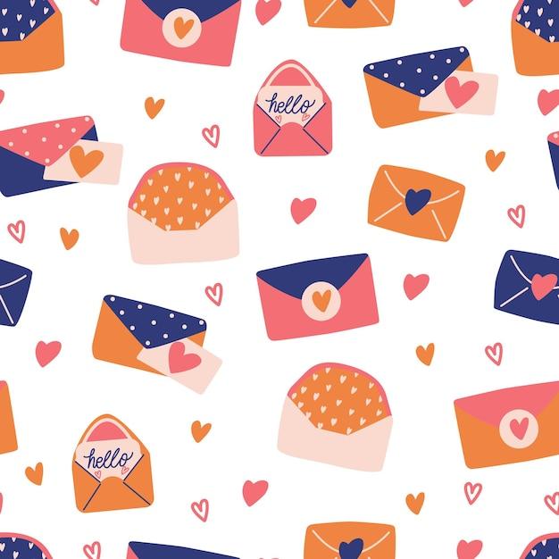 Padrão sem emenda com grande coleção de cartas de amor e símbolos para feliz dia dos namorados. ilustração plana colorida. Vetor Premium