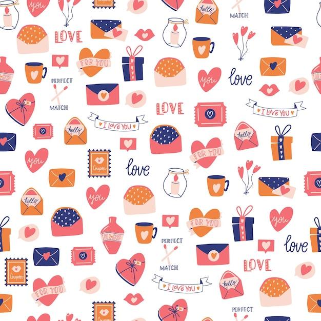 Padrão sem emenda com grande coleção de objetos de amor e símbolos para feliz dia dos namorados. ilustração plana colorida. Vetor Premium
