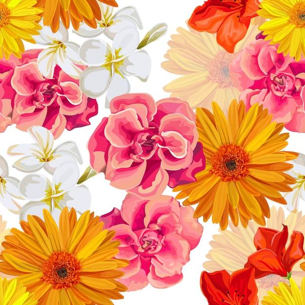 Padrão sem emenda com ilustração em vetor tropicall flor Vetor Premium