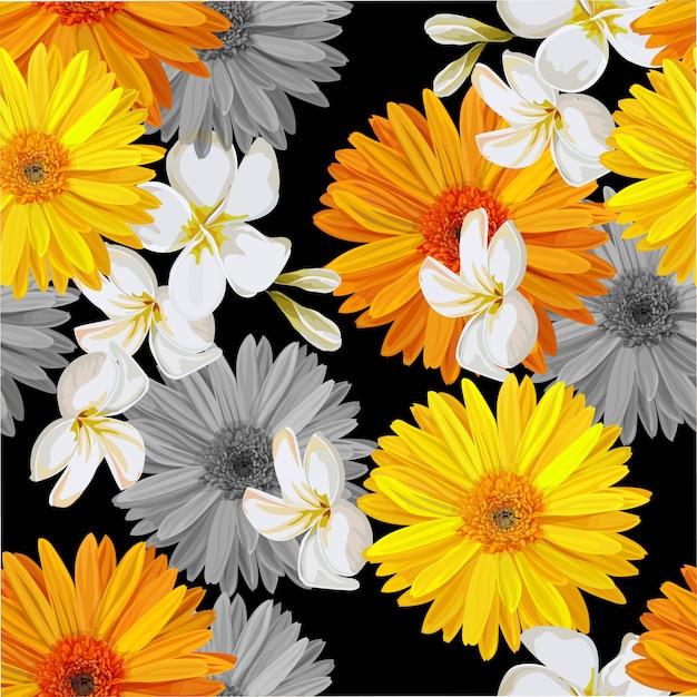 Padrão sem emenda com ilustração vetorial de flor tropical Vetor Premium
