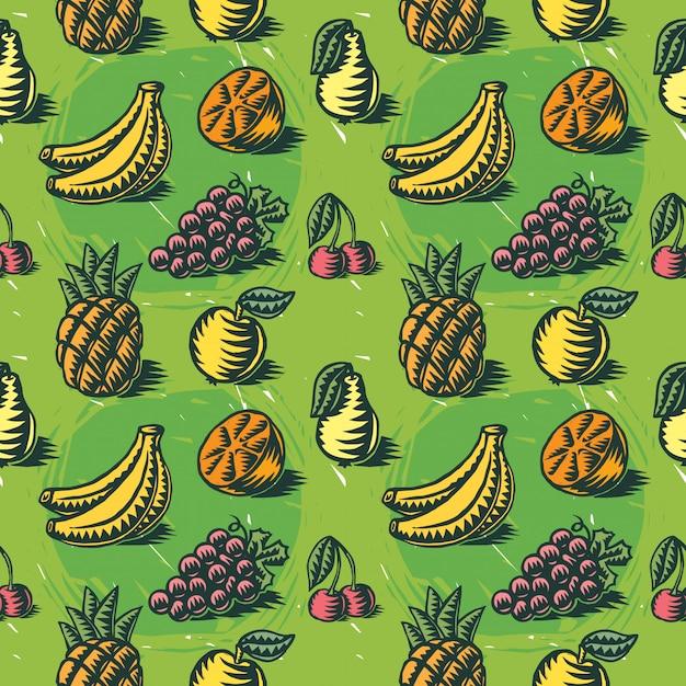 Padrão sem emenda, com ilustrações de frutas Vetor grátis