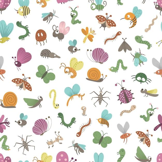 Padrão sem emenda com insetos lisos engraçados desenhados à mão Vetor Premium