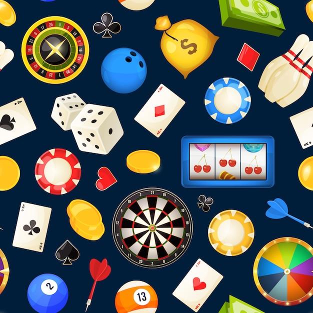 Padrão sem emenda com jogos de azar e outros entretenimentos de cassino Vetor Premium