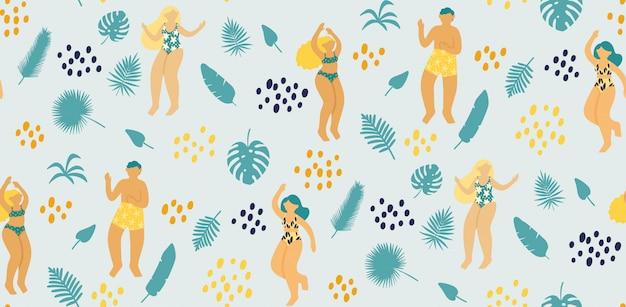 Padrão sem emenda com jovens felizes dançando em traje de banho rodeado por folhas tropicais Vetor Premium