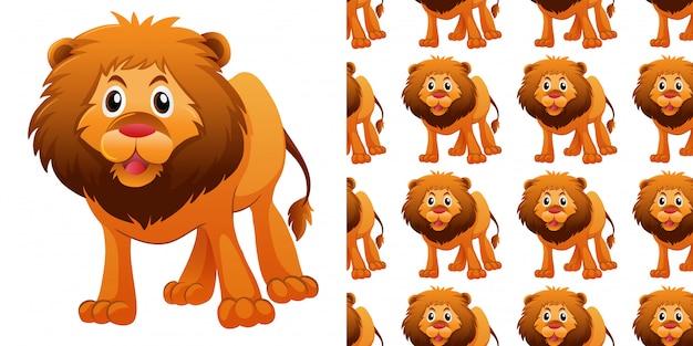 Padrão sem emenda com leão bonito Vetor Premium