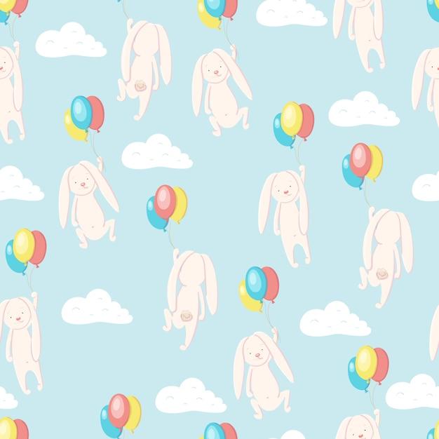 Padrão sem emenda com lebre fofa ou coelho voando no céu em balões Vetor Premium