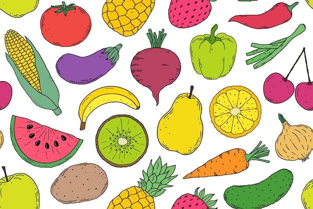 Padrão sem emenda com legumes e frutas estilo desenhado na mão sobre fundo branco. Vetor Premium