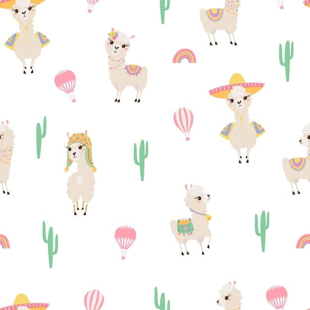Padrão sem emenda com lhamas bonitos, balão de ar e cactos. fundo com bebês alpaca engraçados para têxteis, roupas infantis, papéis de parede. ilustração vetorial Vetor Premium