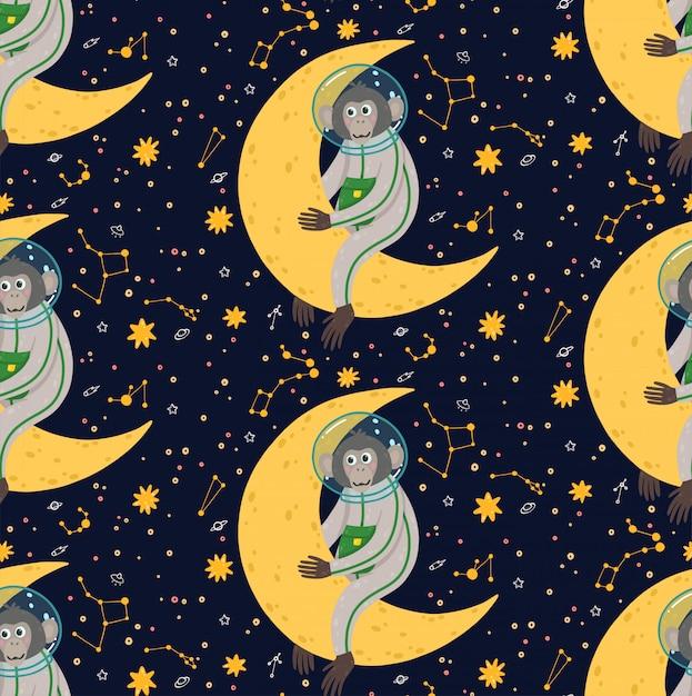Padrão sem emenda com macaco bonito no espaço. ilustração em vetor infantil engraçado. macaco no cosmos rodeado de estrelas. Vetor Premium