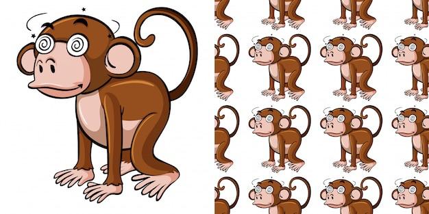 Padrão sem emenda com macaco doente Vetor Premium