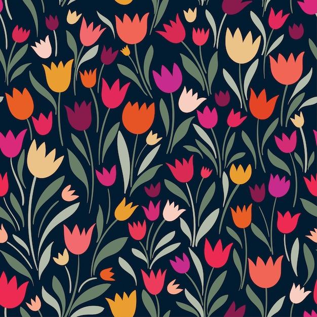 Padrão sem emenda com mão desenhadas tulipas decorativas Vetor Premium