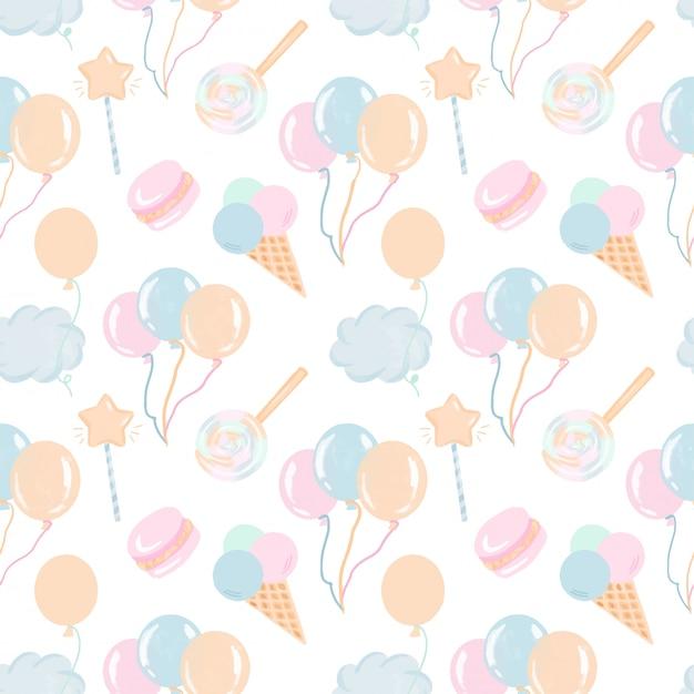 Padrão sem emenda com mão desenhados doces, balões de ar e nuvens em tons pastel Vetor Premium