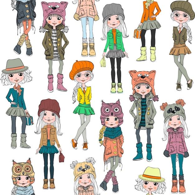 Padrão sem emenda com menina bonita bonito hippie em chapéus engraçados com focinho de gato, panda e coruja, jaquetas e saias com bolsas. Vetor Premium