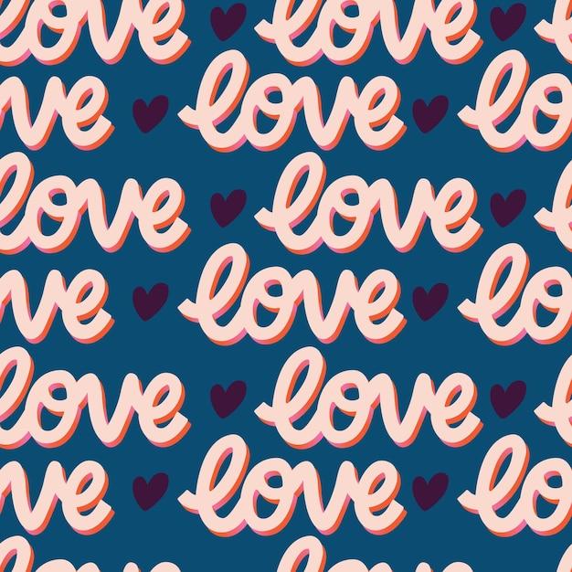 Padrão sem emenda com mensagem de mão com letras amor para feliz dia dos namorados. ilustração plana colorida. Vetor Premium