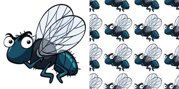 Padrão sem emenda com mosca Vetor Premium