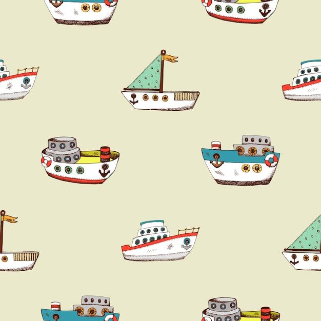 Padrão sem emenda com navio de desenho animado. fundo de design de papel de parede para a sala das crianças. Vetor Premium
