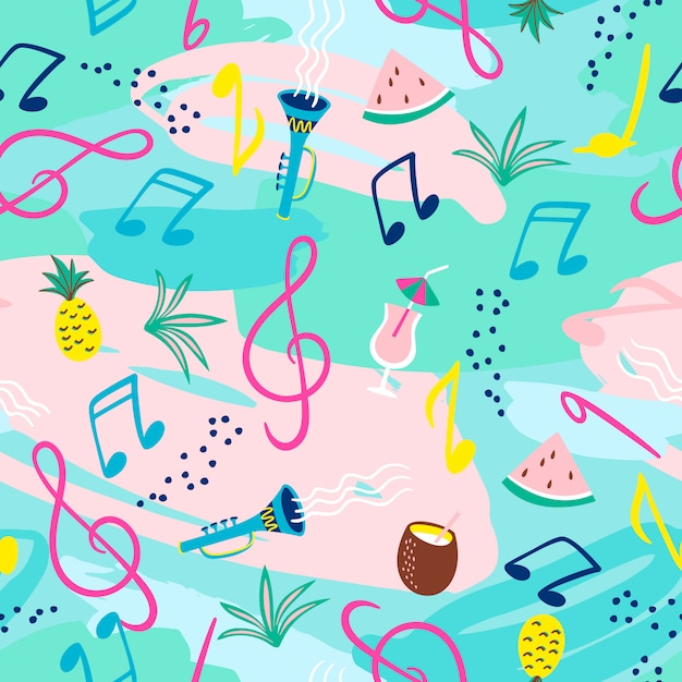 Padrão sem emenda com notas musicais, instrumentos e símbolos de verão. Vetor Premium