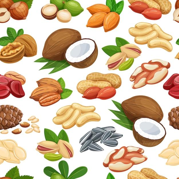 Padrão sem emenda com nozes e sementes. noz de cola, semente de abóbora, sementes de amendoim e girassol. pistache, caju, coco, avelã e macadâmia. ilustração. Vetor Premium