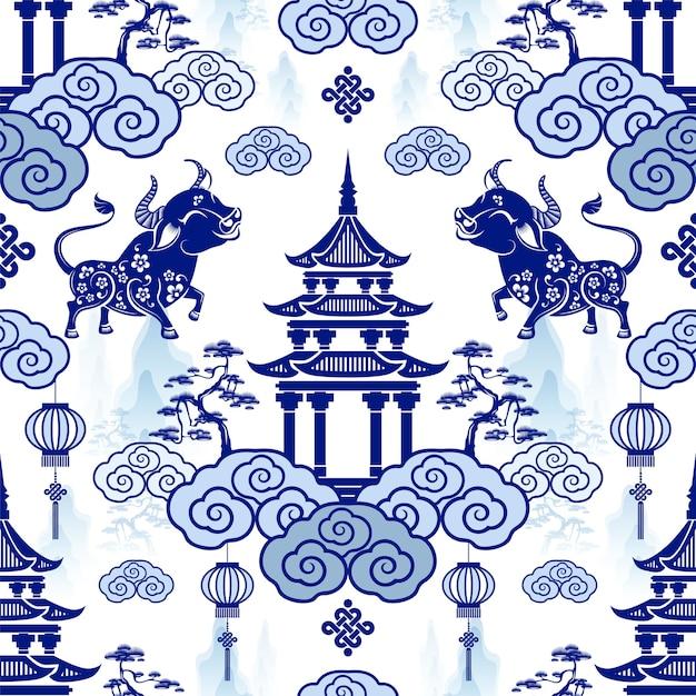 Padrão sem emenda com o signo de ano novo chinês do zodíaco do boi com elementos asiáticos Vetor grátis