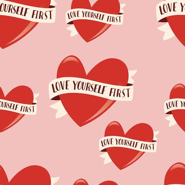 Padrão sem emenda com o símbolo do coração e rtibbon para feliz dia dos namorados. ilustração plana colorida. ame a si mesmo primeiro. Vetor Premium