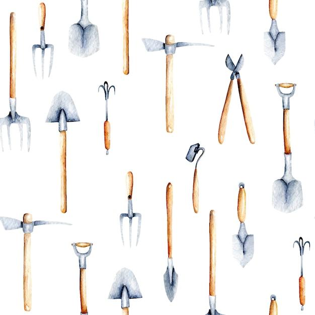 Padrão sem emenda com objetos de aquarela de ferramentas de jardim Vetor Premium