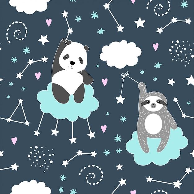 Padrão sem emenda com panda bonito, preguiça, estrelas Vetor Premium