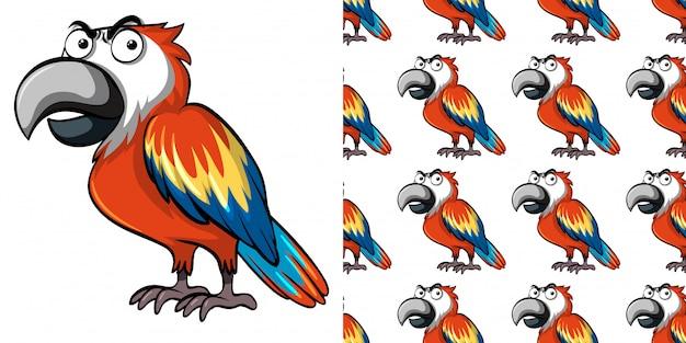 Padrão sem emenda com papagaio bonito Vetor Premium