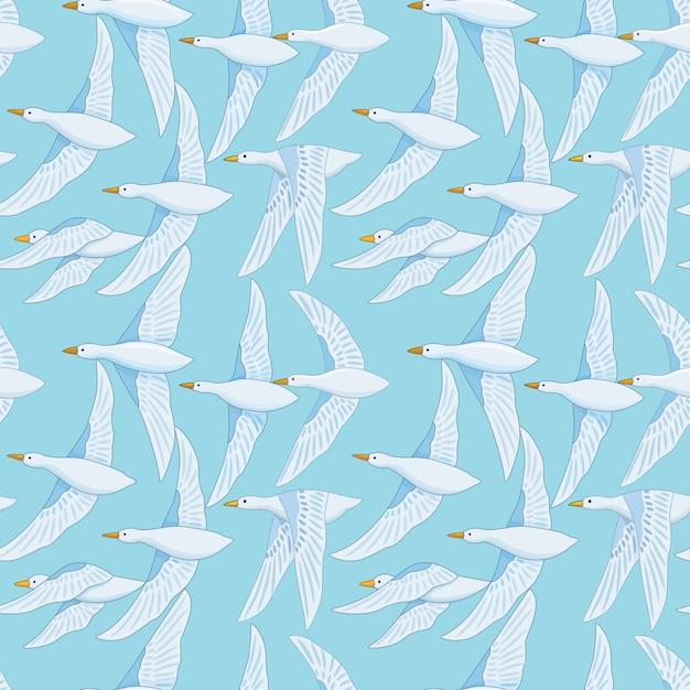 Padrão sem emenda com pássaro de pato branco no céu azul Vetor Premium