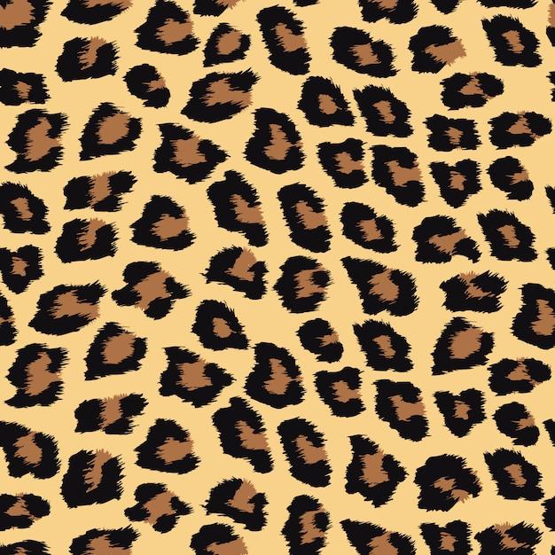 Padrão sem emenda com pele de leopardo. Vetor Premium