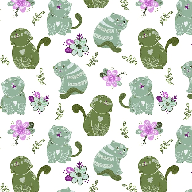 Padrão sem emenda com personagens fofinhos de gatos e flores Vetor Premium