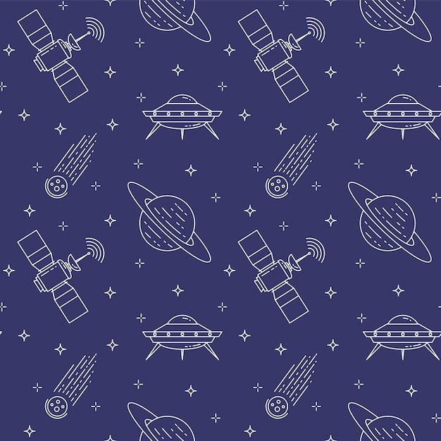 Padrão sem emenda com pictogramas de cosmos de linha. Vetor Premium