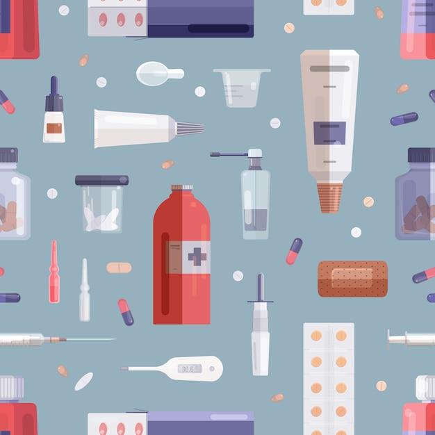 Padrão sem emenda com pílulas, drogas, medicamentos em garrafas, frascos, tubos, seringa e outras ferramentas médicas sobre fundo cinza. Vetor Premium