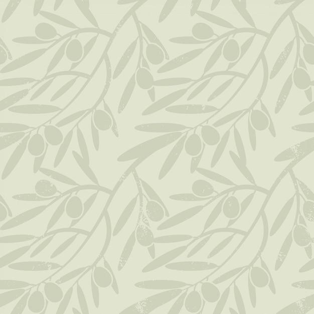 Padrão sem emenda com ramos de oliveira. Vetor Premium