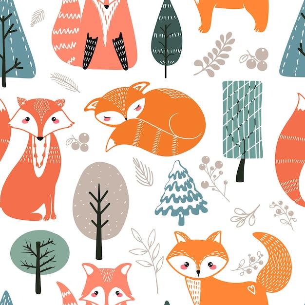 Padrão sem emenda com raposas e elementos diferentes. mão de ilustração desenhada em estilo escandinavo Vetor Premium