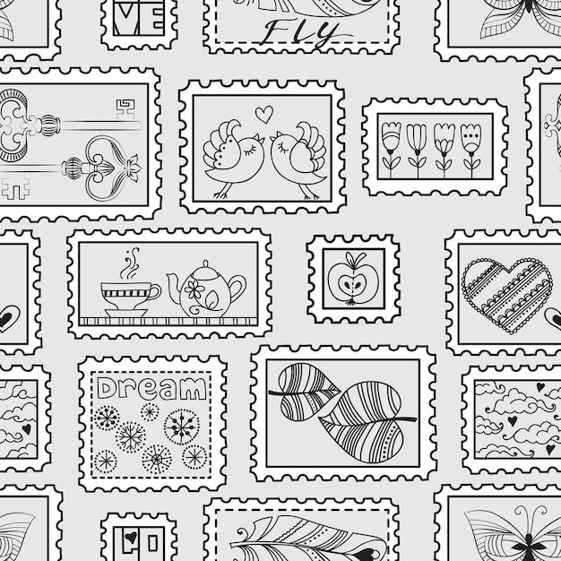 Padrão sem emenda com selos postais. padrão desenhado à mão de selos sem emenda. pode ser usado para papel de parede, plano de fundo de página da web, embalagem, têxtil e álbum de recortes. Vetor Premium