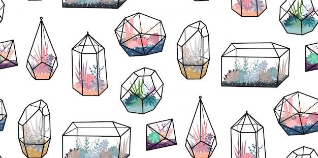 Padrão sem emenda com terrários geométricos com plantas, suculentas, cactos. decoração de casa de estilo escandinavo. florariums de cristal de vidro Vetor Premium